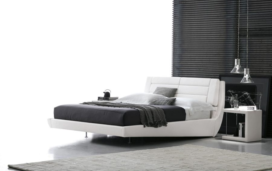 Double bed / contemporary / upholstered / with storage