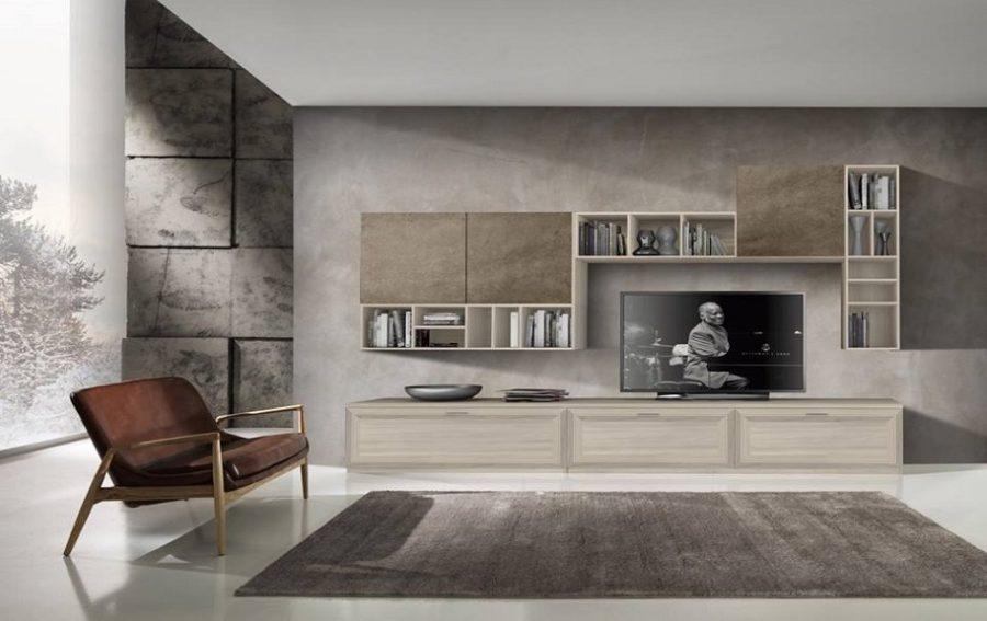Parete attrezzata j055 arredamenti di lorenzo napoli for Colori pareti soggiorno moderne