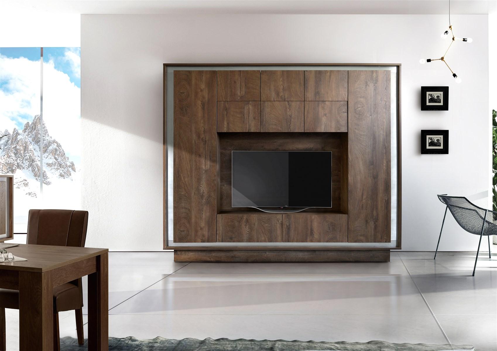 Parete attrezzata con inserto cromato arredamenti di lorenzo napoli - Soggiorni pareti attrezzate moderne ...