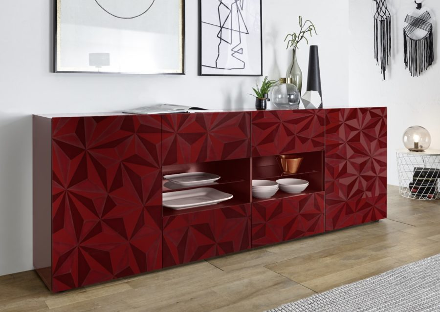 Prisma Rot_Sideboard 2T+4SK 241cm 206699-08