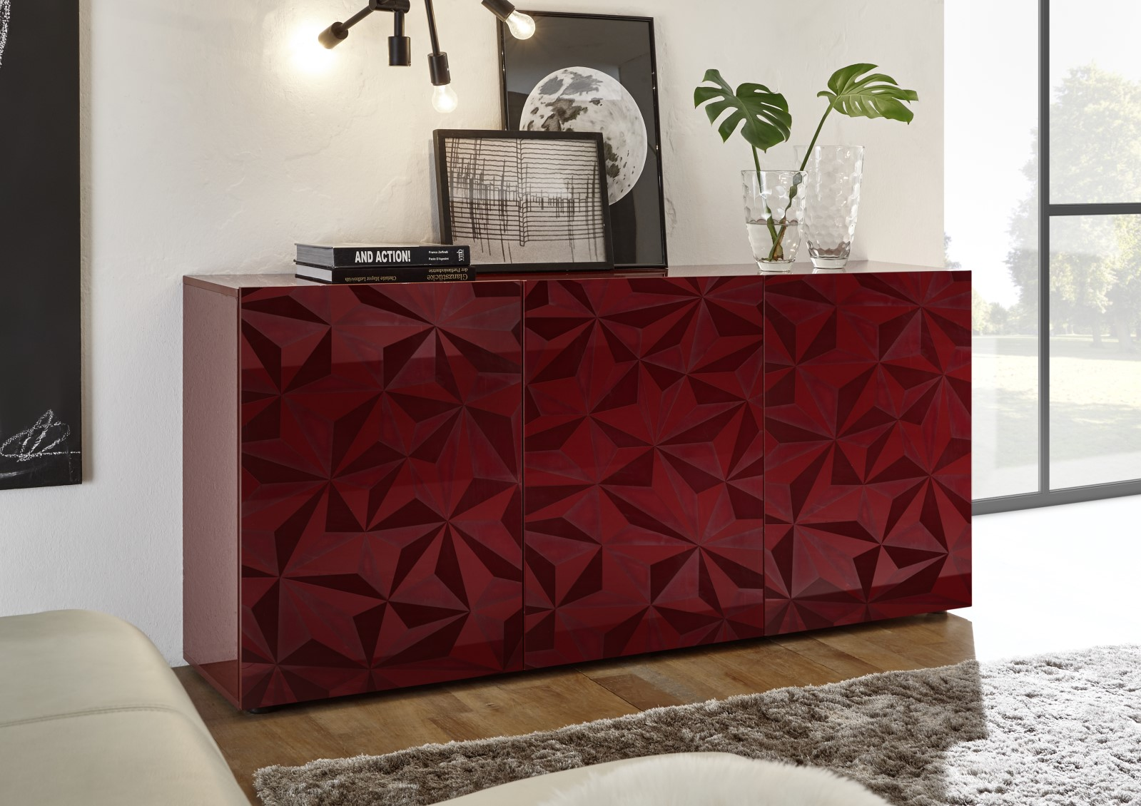 Prisma Rot_Sideboard 3T 181cm 206699-05