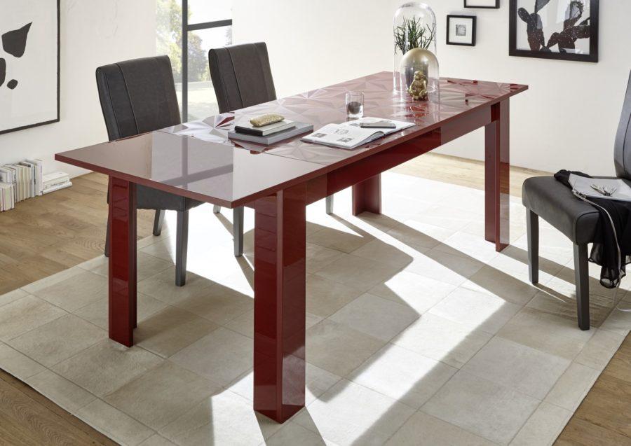 Prisma Rot_Tisch mit Ansteckplatte