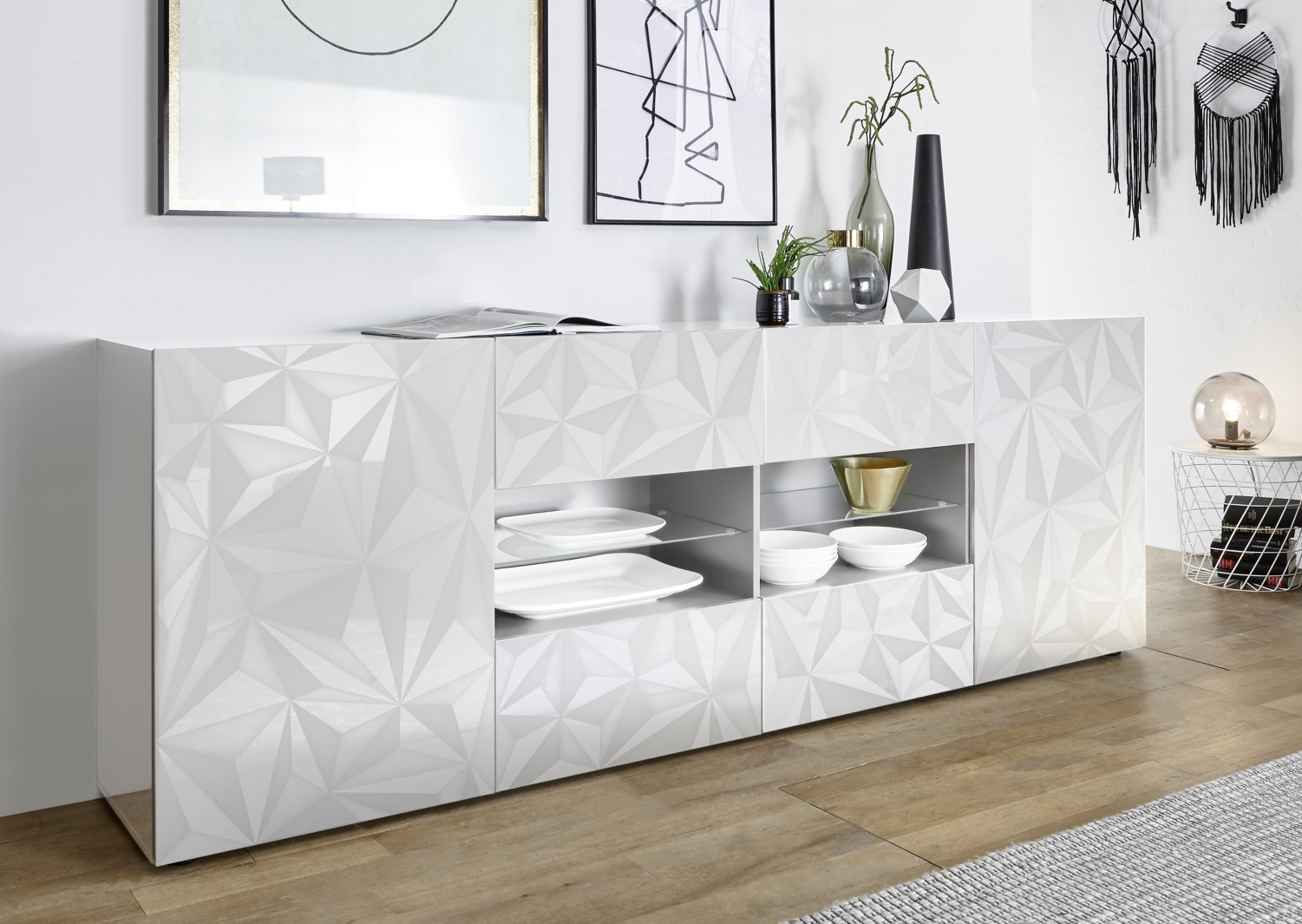 Prisma Weiss_Sideboard 2T+4SK 241cm 209099-08
