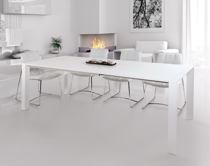 Tavolo Laccato Bianco Lucido.Tavolo Astral Glass