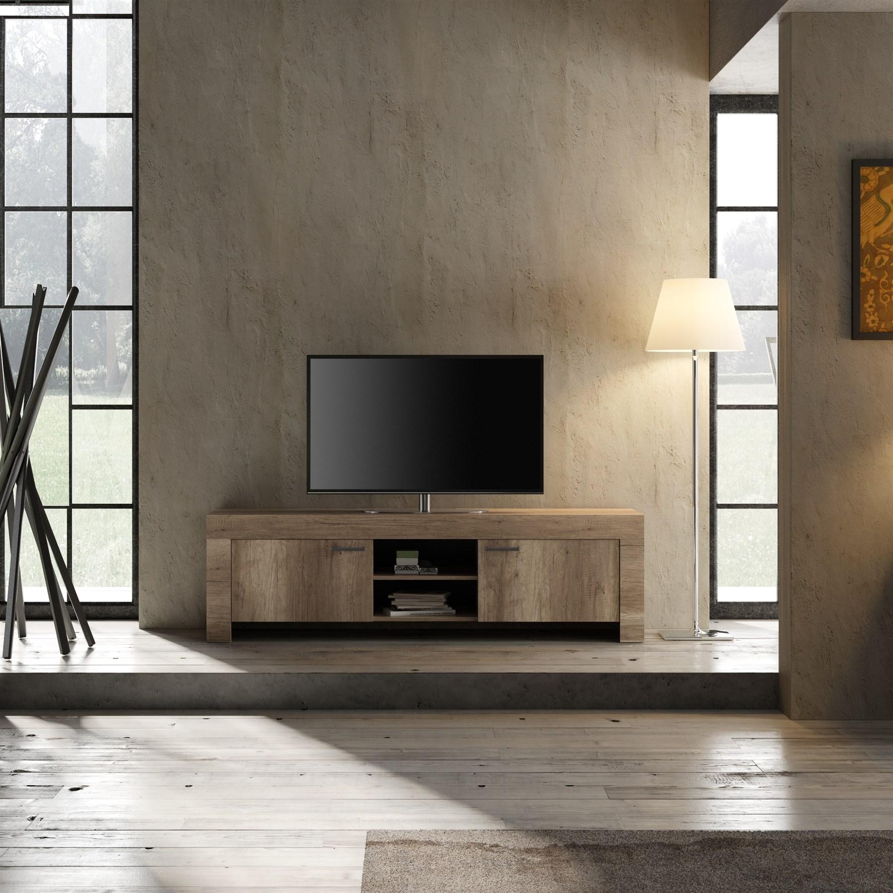 Land minimale porta tv grande noce chiuso arredamenti di for Di lorenzo arredamenti