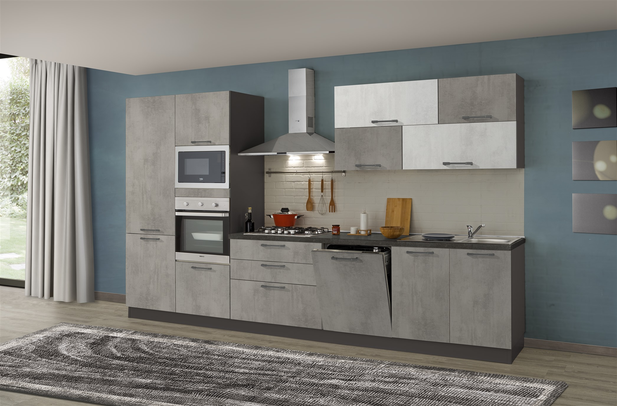 Cucina Kira 360 Micro cemento