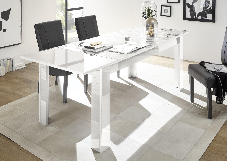 Prisma Weiss_Tisch mit Ansteckplatte