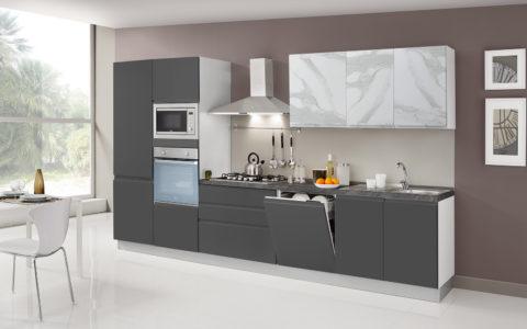 Cucina Kelly Grigio antracite opaco/marmo bianco