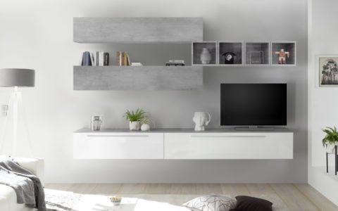 Parete Oslo 084 Bianco/Cemento