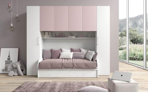 Cameretta Ponte Block Basic Bianco frassino e rosa